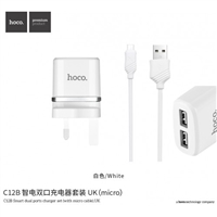 Hoco C12B Smart Dual Ports Charger Set (With Micro Cable) 5V/2.4A