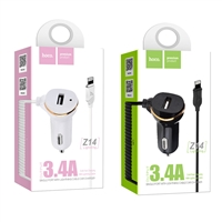 Hoco Z14 Single Port With Lightning Cable Car Charger 5V/3.4A White