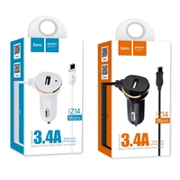 Hoco Z14 Single Port With Micro Cable Car Charger White 5V/3.4A