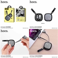 Hoco U33 Retractable Lightning Charging Cable Black