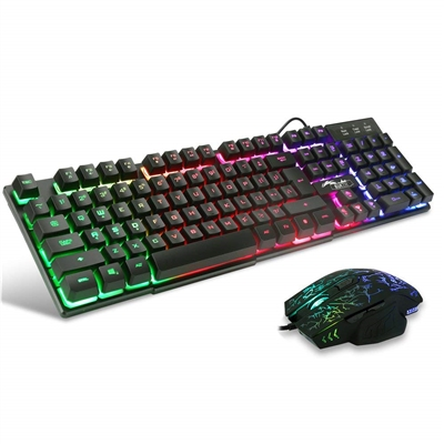 Bluefinger BFKM-K13 Rainbow Backlit Wired Keyboard And Mouse Combo
