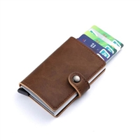 Genuine Leather K01 Smart Single  Layer Card Holder Brown