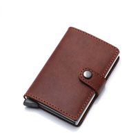 Genuine Leather K01 Smart Single Layer Card Holder Red Brown