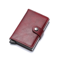 Genuine Leather K01 Smart Single Layer Card Holder Red