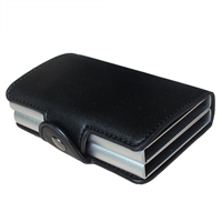 Genuine Leather K02 Smart Double Layer Card Holder Black