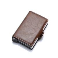 Genuine Leather K02 Smart Double Layer Card Holder Brown