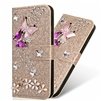 iPhone 7/8 Butterfly Flower Painted Design Wallet Case Gold