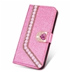 iPhone 7/8 Painted Glitter Pearl  Wallet Case Pink