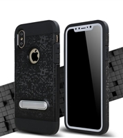 iPhone XS/X Shockproof 2in1 bracket Shell Mosaic Pattern Case Black