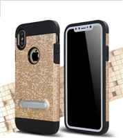 iPhone XS/X Shockproof 2in1 bracket Shell Mosaic Pattern Case Gold