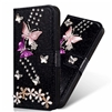 iPhone XS Max Butterfly Flower Painted Design Wallet Case Black