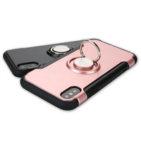 iphone XS/X 360 carbon fiber shockproof case with Ring Holder Rose Gold