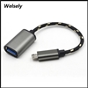 Metal Micro USB To Female USB OTG Braided Cable Adapter