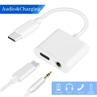 2-in-1 Type-C to 3.5mm Headphone Audio Adapter Charging Cable Black