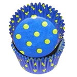 Blue Yellow Hot Dots Round Baking Cups