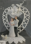 Pearl Hearts Ornament Wedding Topper
