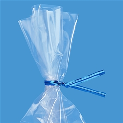 "4"" Blue Metallic Twist Ties - 50 Pack"