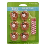 Baseball Party Candle Holders with Candles
