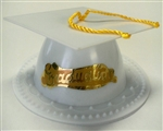White Graduate Mortar Board Cap Cake Topper