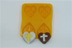 Cross on Heart Flexible Chocolate Mold wedding communion confirmation CM180