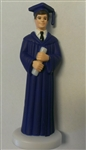 Dark Blue Gown Graduate Boy Cake Topper graduation high school college