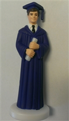 Dark Blue Gown Graduate Boy Cake Topper