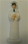 White Gown Graduate Boy Cake Topper