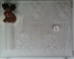 Cute Moose Lollipop Chocolate Mold