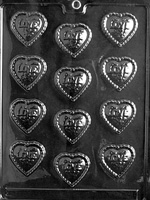 Fancy Love Hearts Chocolate Mold