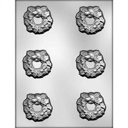"2-1/4"" Holly Wreath Chocolate Mold"