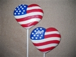 Flag Heart Shaped Sucker Chocolate Mold - CCV202