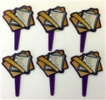 Ruler & Pad Cupcake Picks - 6 Pack