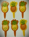 Pineapple Paper Cupcake Picks - 6 Pack