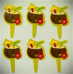 Coconut Drink Cupcake Picks - 6 Pack