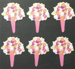 Flower Bouquet Cupcake Picks - 6 Pack