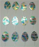 Shiny Easter Egg Cupcake Picks - 12 Pack