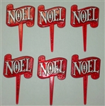 Red Noel Christmas Cupcake Picks - 6 Pack