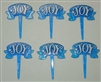 "Blue ""Joy"" Cupcake Picks - 6 Pack"