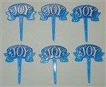 "Blue ""Joy"" Christmas Cupcake Picks"
