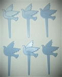 Blue Doves Cupcake Picks - 6 Pack