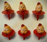 Clown Head Shaped Cupcake Picks - 6 Pack