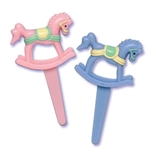 Rocking Horse Blue Cupcake Pick - 6 Pack