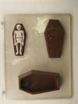 Casket with Skeleton Pour Box Chocolate Mold Halloween mortuary funeral haunted house