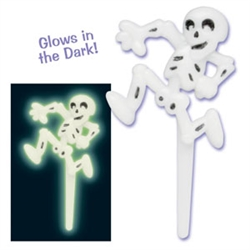 Glow in the Dark Skeleton Cupcake Topper - 6 Pack