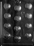 Grooved Hearts Chocolate Mold - LPV003