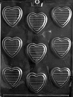 Hearts with Ridges Chocolate Mold wedding valentine mothers day anniversary