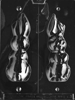 3D Large Hollow Flop Eared Bunny Chocolate Mold  E061 rabbit easter