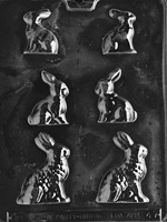 3 Sized Bunnies Chocolate Mold easter animal rabbit