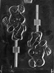Bunny Holding Flower Lollipop sucker Chocolate Mold E138 rabbit animal easter petting zoo