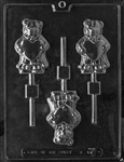 Bear Holding Heart Lollipop sucker Chocolate Mold valentine mother father anniversary
